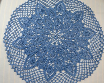 Delft Blue Doily 15 Inch Doily Bright Blue Pineapple Doily