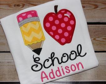 Personalized I love School Shirt Pencil Apple