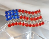 Vintage Flag Brooch. Red, Clear, Blue Rhinestones American Flag USA. Large Wavy Flag Pin.