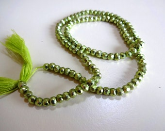"""Use TAKE10 for 10% off! LIME Green Metallic Pyrite Faceted Rondelles, 3.5mm, 1/4 strand (3.25"""" long), olive chartreuse"""