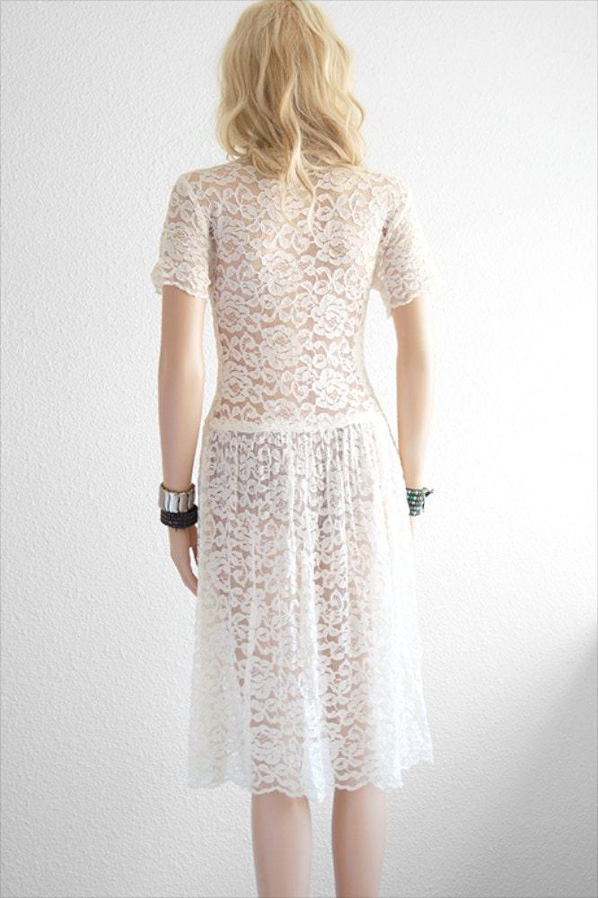 spitzen kleid white lace kleid bohemian hochzeit von 2treasurehunt. Black Bedroom Furniture Sets. Home Design Ideas