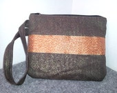 Gold, Dark Chocolate Brown & Copper Embroidered Wristlet Bag Pouch Handbag