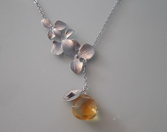 Bridesmaids Gift, Wedding Gift - Birthstone - personalized  triple orchid flowers lariat with citrine briolette