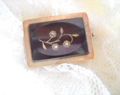 Reserved!  Circa 1880 Glass and Marcasite Brooch in Gold Fill Setting, Time Raveler