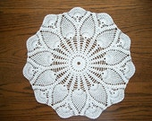 White Crochet Doily Cotton Lace Center Piece with Pineapple and Fan Pattern Heirloom Quality