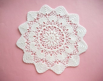 White Doily Crochet Cotton Lace with Scalloped Large Fan Edge Heirloom Quality