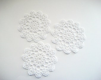 Crochet Coaster Set White Cotton Lace Mug Mats 3 pcs