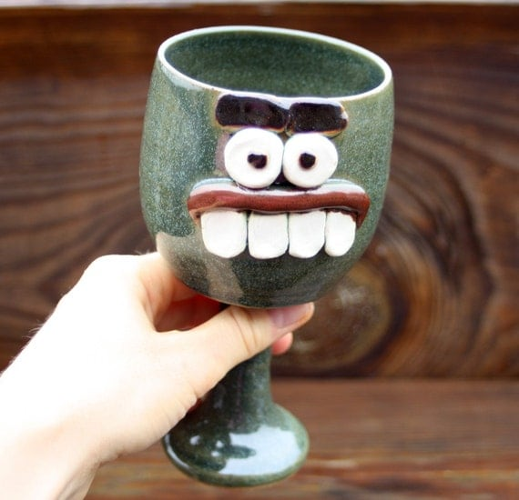 Funny Holiday Dessert Chalice Frosty Green Pottery Wine Glass Clay