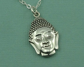 SALE Buddha Necklace - Sterling Silver Buddhist Jewelry, Buddha Jewelry, Yoga Gifts, Buddhist Necklace