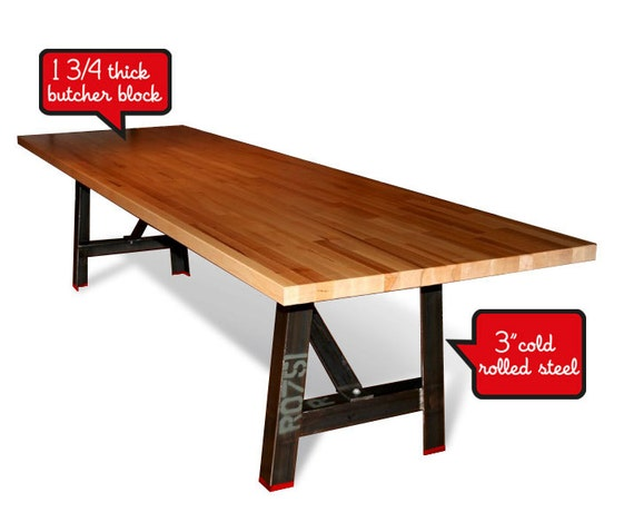 10 39 Industrial Dining Table Butcher Block Top By MaruModern