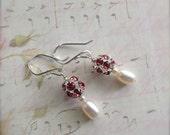 Freshwater Pearl Earrings Sterling Silver Rhinestone Bead Earrings