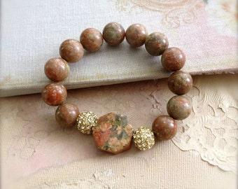 Stretch Bracelet Unakite Gemstone Stone Bangle Moss Green Earthy Brown Salmon Pink Gemstone Jewellery Spring Sale