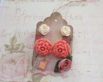 Peach Flower Earrings Salmon Pink Dahlia White Rose Post Earrings on Gift Art Tag Collage Scrapbooking Embellishment  - Pretty Girl