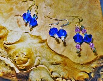 FREE SHIPPING  3 pairs of  Swarovski Vintage Crystal Beads 12mm Capri Blue AB Bicones, Pearls,