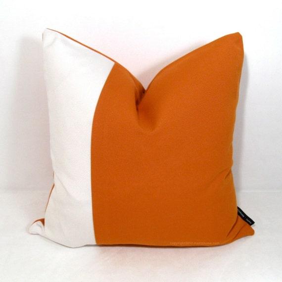 "SALE - Hold for Kristen S.V - Orange Outdoor Pillow Cover 16"", Modern Color Block, Decorative Throw Pillow Case, White Sunbrella"