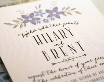 Floral blue & silver wedding invitation suite