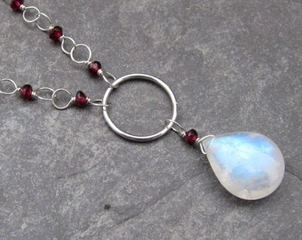 Rainbow Moonstone and Garnet Gemstone Birthstone Necklace Sterling Silver Wire Wrapped Briolette Pendant with Cable Chain
