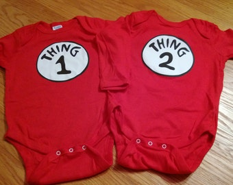 Set of Thing 1 Thing 2 or Twin 1 Twin 2 Long Sleeved Onesies