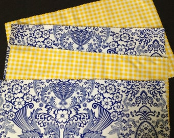 Reversible provincial blue and white  oilcloth placemats