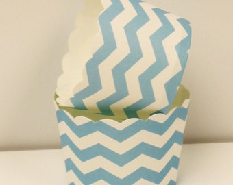 Candy Nut Cups, 20 Pastel Blue Chevron Paper Cups, Baking,  Party, Candy, Holiday, Cupcake Liner, Baby Shower, Wedding, Birthday, Baking Cup