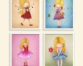 Art children decor, kids wall art, Art for girls room decor,  Ballerina, love, colorful set of 4