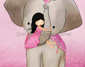 Kids room art, elephant nursery, pink wall art for kids room, nursery art, art for girls room, illustration drawing print poster art,