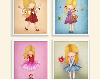 Art children decor, kids wall art, Art for girls room decor,  Ballerina, love, colorful set of 4