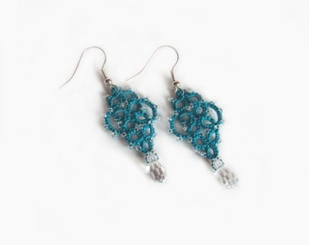 Teal Dangle Earrings , Beaded Tatted Lace Earrings - Mina