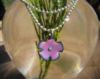 Pink Wildflower Enamel Charm Pendant  Enamel Jewelry