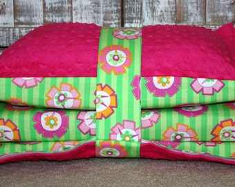 Kinder Nap Mat Cover -Pinwheels and Dark Pink Minky - Ready To Ship