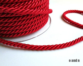 Twisted silk cord, 5mm, red satin rope, 2 meters