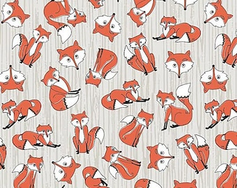 Timberland Critters Fabric by Adorn It Foxy Play Cute Tossed Red Foxes on Gray Grey