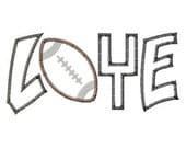 Football Love 2 Color Embroidery Machine Applique Design Design 4228