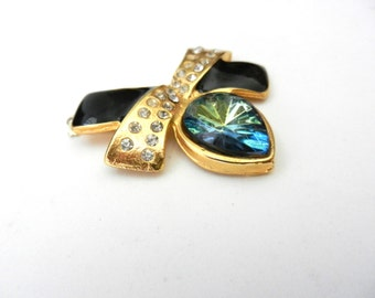 Dazzling Clasp for Jewelry, 70s vintage -gold & crystal teardrop with great light Multicolor - art.997/2-