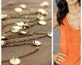 Courtney Cox Cougar Town Necklace - Tiny Discs Long Gold Necklace - CHOOSE your Length