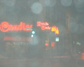Chicago Photo, MARGIE'S CANDIES at Night, Bucktown, Chicago Photo, vintage neon sign, ice cream, candy, sweets, 20s, 30s, 40s, 50s