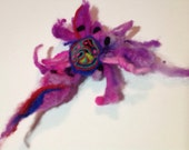 Orchid felted flower brooch