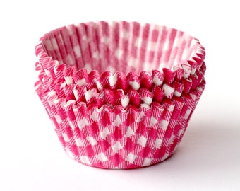 100 Pink Gingham Cupcake Liners / Baking Cups