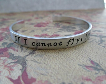 if i cannot fly, let me sing - hand stamped sweeney todd inspired aluminum cuff bracelet