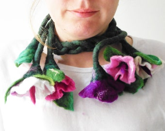 felted flowers cluster fiber scarf statement necklace lariat, eco friendly fashion