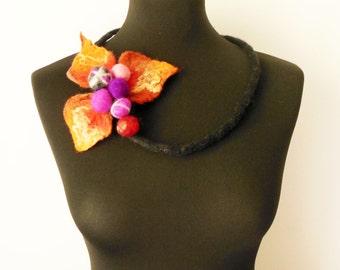 felt autumn flower necklace, statement necklace, eco friendly, bib necklace, strand necklace