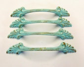 Drawer Pulls 4 French Provincial Upcycled Aqua Gold Distressed Shabby 4.5 Inches long 3 inch Centers