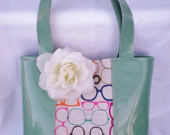 Minty Metallic and Retro Glasses Tote (Tote does not come with flower)