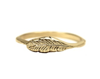 Delicate Organic Feather Ring 14K Yellow Gold Woodland Boho Bird Wing Warm Golden Glow Nature Light Flight Stackable Band - Feather's Gold