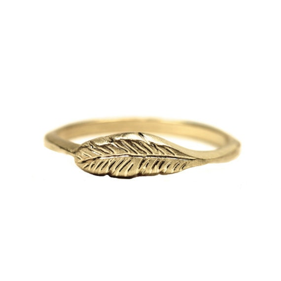 Organic 14K Yellow Gold Feather Ring Woodland - Feather's Gold