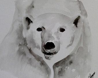 "Original Polar Bear Watercolor Painting- ""Picasso the Polar Bear"" Alphabet Animals"