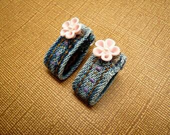 Blue Jean Earrings Post Earrings Pink Flower Belt Loop Earrings