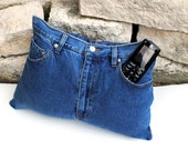 Upcycle  Recycled Designer Denim Jeans TV Remote Control Storage Pocket Pillow