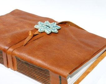 """Large Leather Journal - 6"""" x 9"""" 140 lb Watercolor Paper - Handmade Scrapbook Sketchbook Leather Blank Book"""
