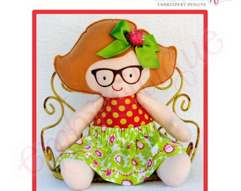 Doodley Dolls Claire Add On PDF Sewing & Embroidery Pattern- Posh and Proper - Instant Download -Digital Machine Embroidery Design